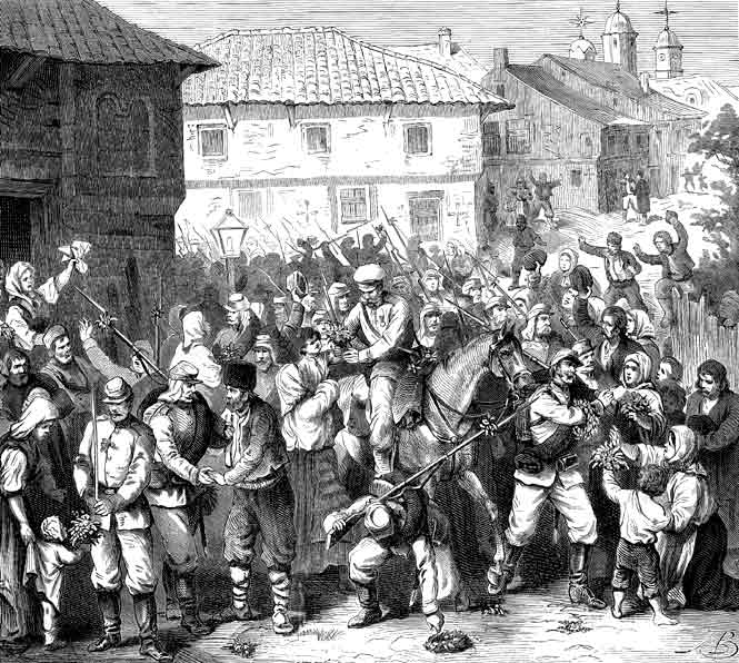 Посрещане на руските войски в Търново, 25 юни 1877 г.