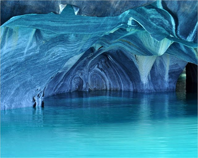 Shortage of Blue and Marble Cathedral on Lake General Carrera, South America