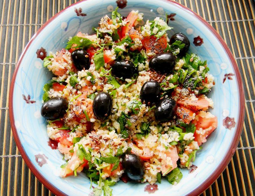 Fresh bulgur and millet salad