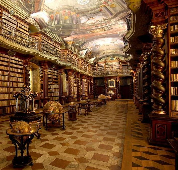 Baroque library with magnificent views of Prague